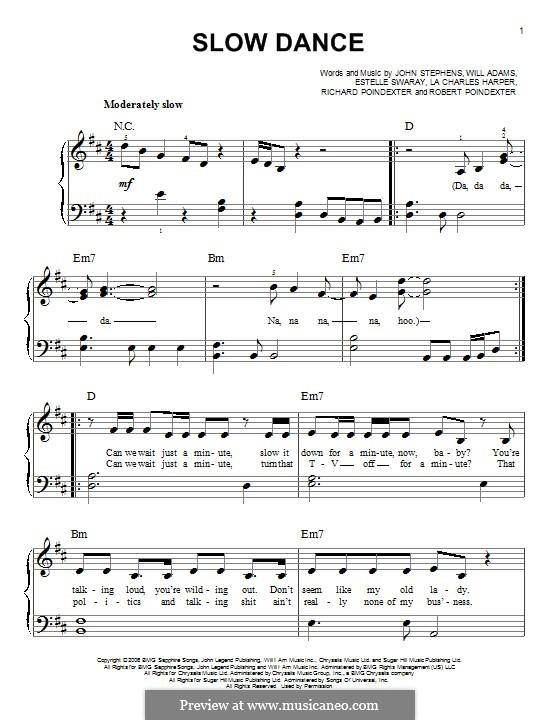 Slow Dance (John Legend): Para Piano by Estelle Swaray, John Stephens, Lewis Poindexter, will.i.am