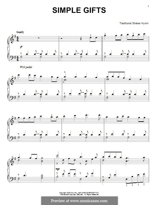 Simple Gifts: Para Piano by folklore