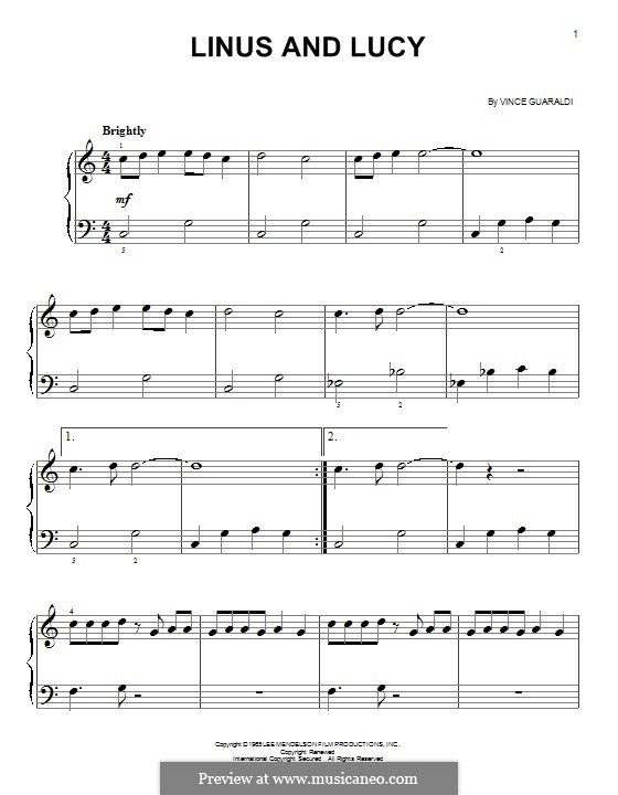 Linus and Lucy (from A Boy Named Charlie Brown): Para Piano by Vince Guaraldi