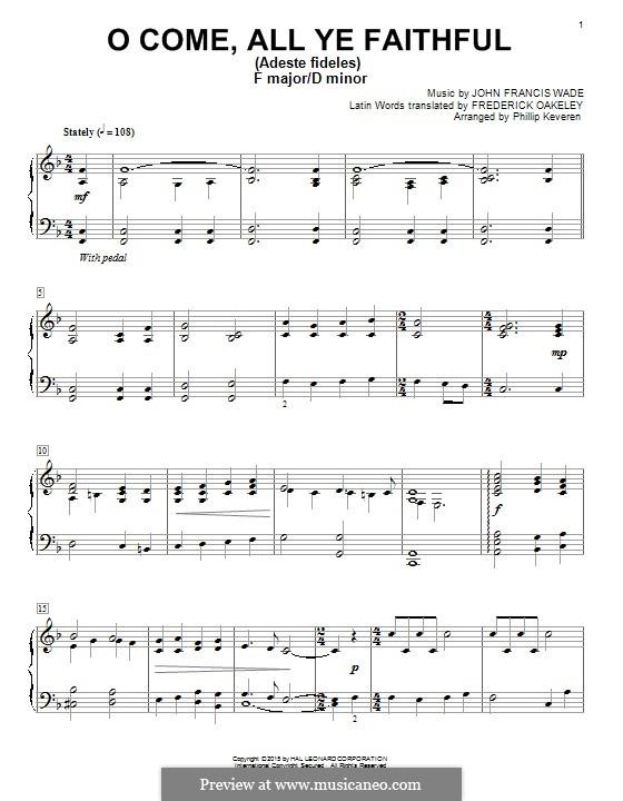 O Come All Ye Faithful, for Piano: para um único musico (Editado por H. Bulow) by John Francis Wade