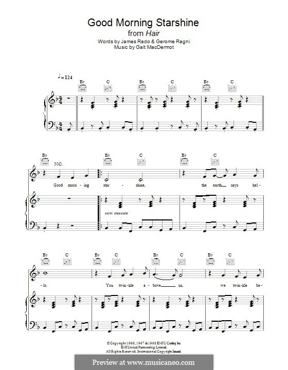 Good Morning Starshine (from Hair): Para vocais e piano (ou Guitarra) by Galt MacDermot