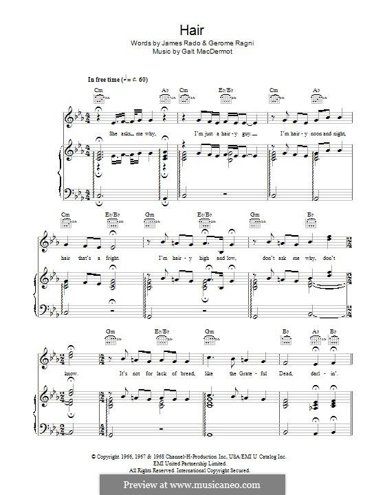 Hair (from Hair): Para vocais e piano (ou Guitarra) by Galt MacDermot