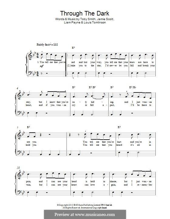 Through the Dark (One Direction): Para Piano by Toby Smith, Jamie Scott, Louis Tomlinson, Liam Payne