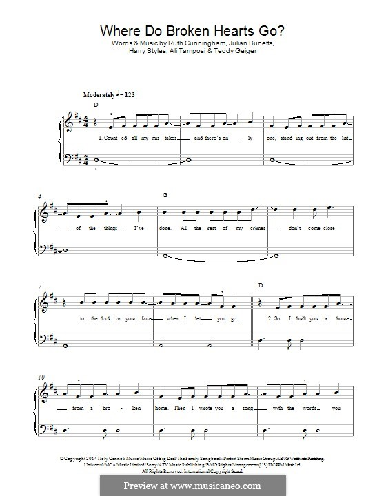 Where do Broken Hearts Go (One Direction): Para Piano by Julian Bunetta, Ruth Anne Cunningham, Alexandra Tamposi, Harry Styles, John Theodore Geiger, John Henry Ryan