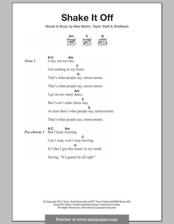 Shake it Off: Letras e Acordes by Shellback, Max Martin, Taylor Swift