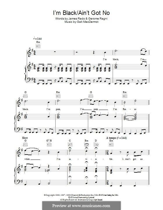 I'm Black/Ain't Got No (from Hair): Para vocais e piano (ou Guitarra) by Galt MacDermot