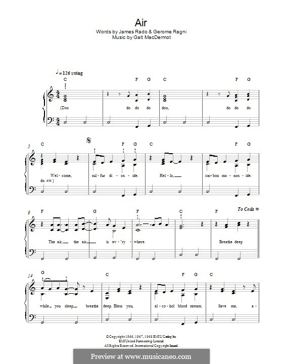 Air (from Hair): Para Piano by Galt MacDermot
