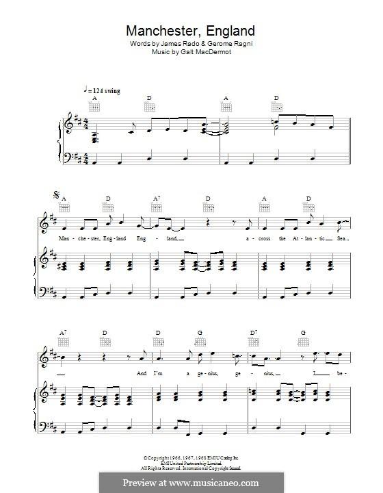 Manchester England: Para vocais e piano (ou Guitarra) by Galt MacDermot