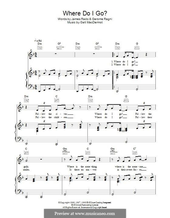 Where Do I Go? (from Hair): Para vocais e piano (ou Guitarra) by Galt MacDermot