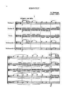 String Quintet in F minor: partitura completa by Alexander Borodin
