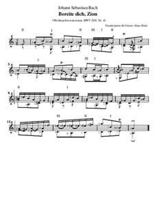 Weihnachts-Oratorium (The Christmas Oratorio), BWV 248: Nr.4 Bereite dich, Zion,für Gitarre by Johann Sebastian Bach