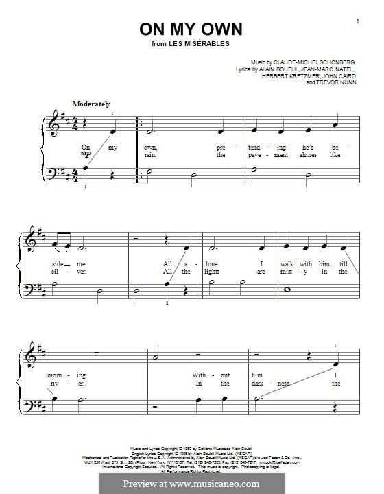 On My Own: Para Piano by Claude-Michel Schönberg