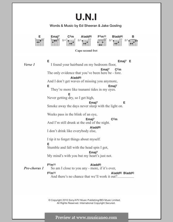 U.N.I: Letras e Acordes by Ed Sheeran, Jake Gosling