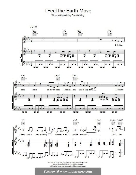 I Feel the Earth Move: Para vocais e piano (ou Guitarra) by Carole King