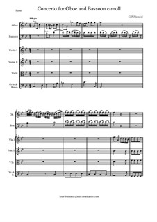 Concerto for Oboe, Bassoon and Strings in C Minor: Score and all parts by Georg Friedrich Händel