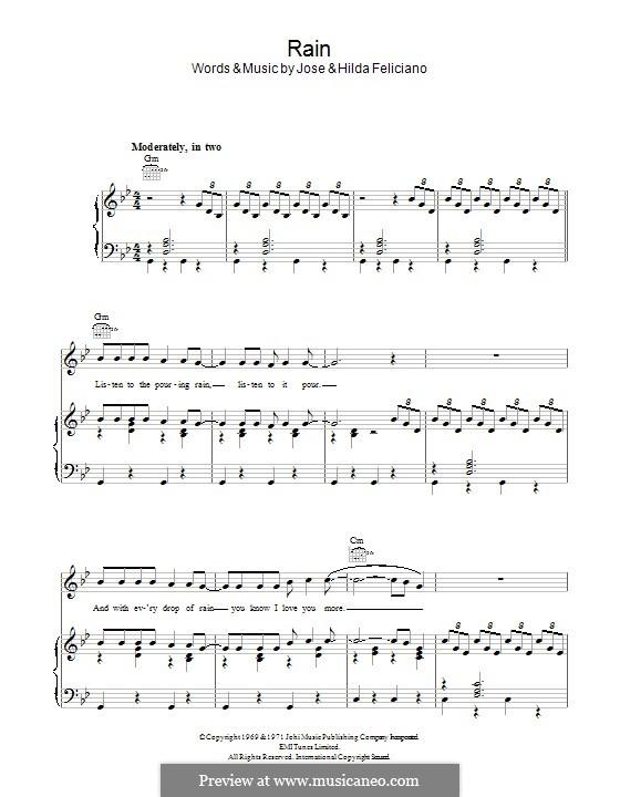 Rain: Para vocais e piano (ou Guitarra) by José Feliciano, Hilda Feliciano
