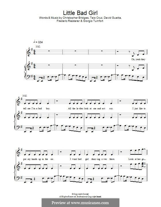 Little Bad Girl (feat. Taio Cruz): Para vocais e piano (ou Guitarra) by Christopher Bridges, David Guetta, Frédéric Riesterer, Giorgio Tuinfort, Taio Cruz