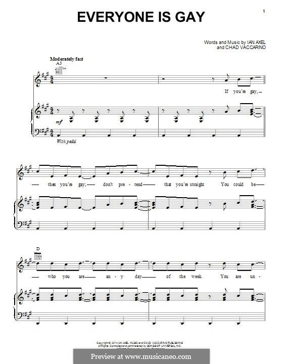 Everyone Is Gay (A Great Big World): Para vocais e piano (ou Guitarra) by Ian Axel, Chad Vaccarino