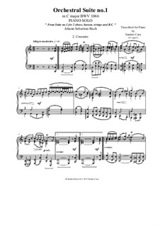 Orchestral Suite No.1 in C Major, BWV 1066: Courante, for piano solo by Johann Sebastian Bach