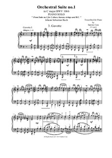 Orchestral Suite No.1 in C Major, BWV 1066: Gavotte 1 and 2, for piano solo by Johann Sebastian Bach