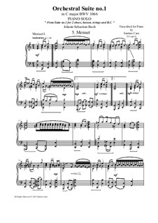 Orchestral Suite No.1 in C Major, BWV 1066: Menuet 1 and 2, for piano solo by Johann Sebastian Bach