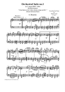 Orchestral Suite No.1 in C Major, BWV 1066: Bourrée 1 and 2, for piano solo by Johann Sebastian Bach
