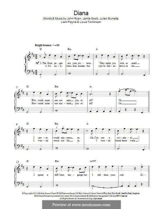Diana (One Direction): Para Piano by Julian Bunetta, Jamie Scott, Louis Tomlinson, Liam Payne, John Henry Ryan