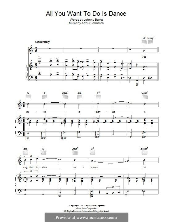 All You Want To Do Is Dance: Para vocais e piano (ou Guitarra) by Arthur Johnston