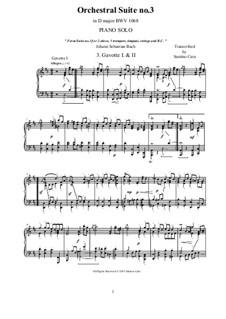 Gavotte I and II: arranjo para piano by Johann Sebastian Bach