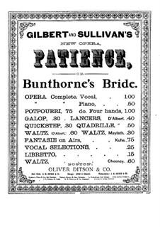 Patience: potpourri, para piano de quatro mãos by Arthur Seymour Sullivan