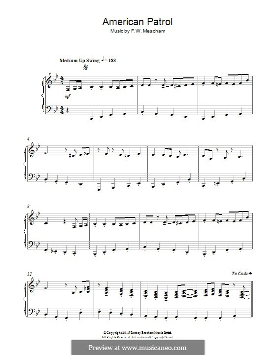 American Patrol, Op.92: Para Piano by Frank W. Meacham