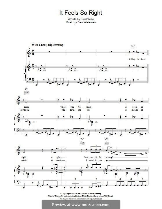 It Feels So Right: Para vocais e piano (ou Guitarra) by Ben Weisman