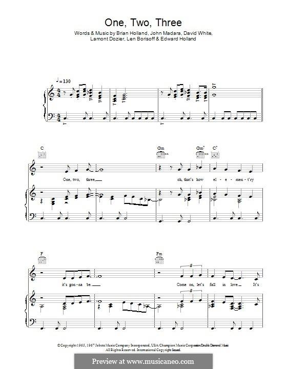 1 2 3 (Len Barry): Para vocais e piano (ou Guitarra) by David White, John Medora, Leonard Borisoff