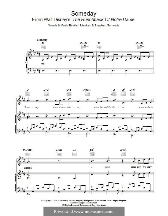 Someday (from Walt Disney's The Hunchback of Notre Dame): Para vocais e piano (ou Guitarra) by Alan Menken