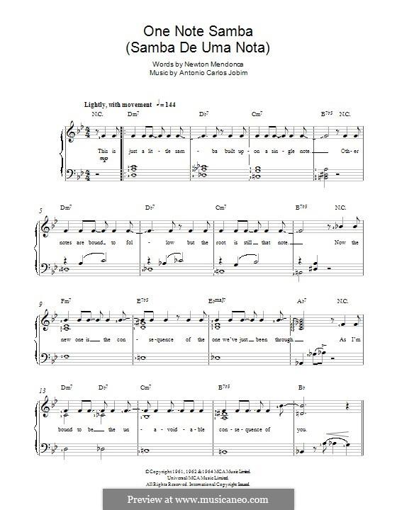 One Note Samba (Samba De Uma Nota): Para vocais e piano by Antonio Carlos Jobim