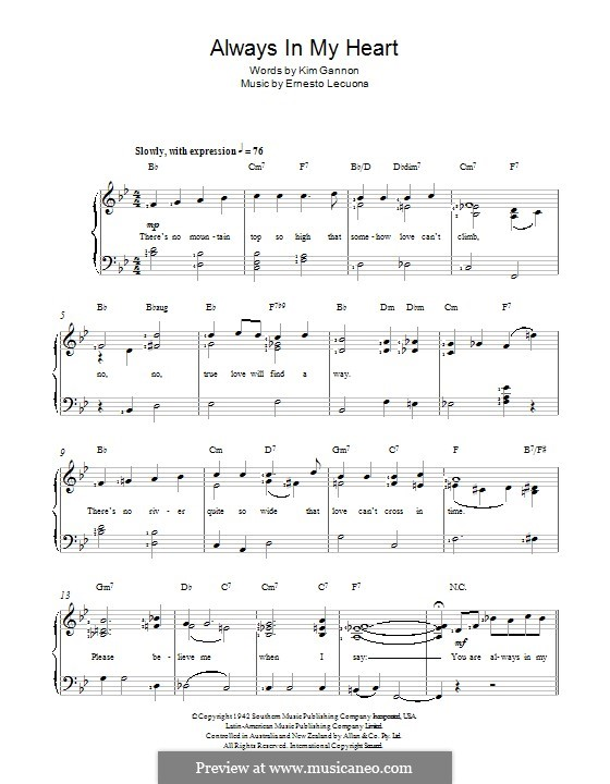 Always in My Heart (Siempre en mi Corazon): Para vocais e piano by Ernesto Lecuona, Kim Gannon