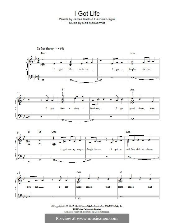 I Got Life: Para Piano by Galt MacDermot