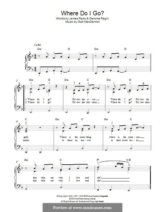 Where Do I Go? (from Hair): Para Piano by Galt MacDermot