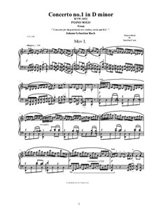 Concerto for Harpsichord and Strings No.1 in D Minor , BWV 1052: Movement I Allegro, for piano version by Johann Sebastian Bach
