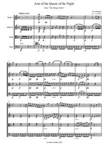 Hell's Vengeance Boils in My Heart: partes - para quarteto de cordas by Wolfgang Amadeus Mozart