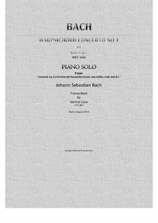 Concerto for Harpsichord and Strings No.1 in D Minor , BWV 1052: Full piano version by Johann Sebastian Bach