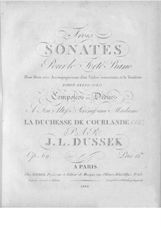 Three Sonatas, Op.69: set completo by Jan Ladislav Dussek
