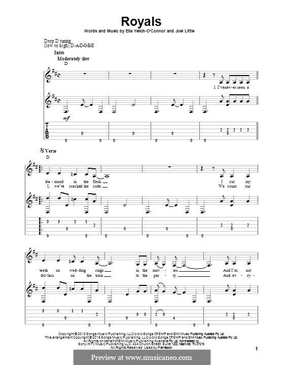Royals (Lorde): Para guitarra com guia by Ella Yelich-O'Connor, Joel Little