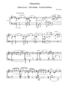 Album Leaf, EG 109: Folha de album by Edvard Grieg
