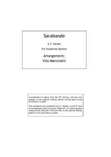 Sarabande in D Minor: Para quarteto de sopro by Georg Friedrich Händel