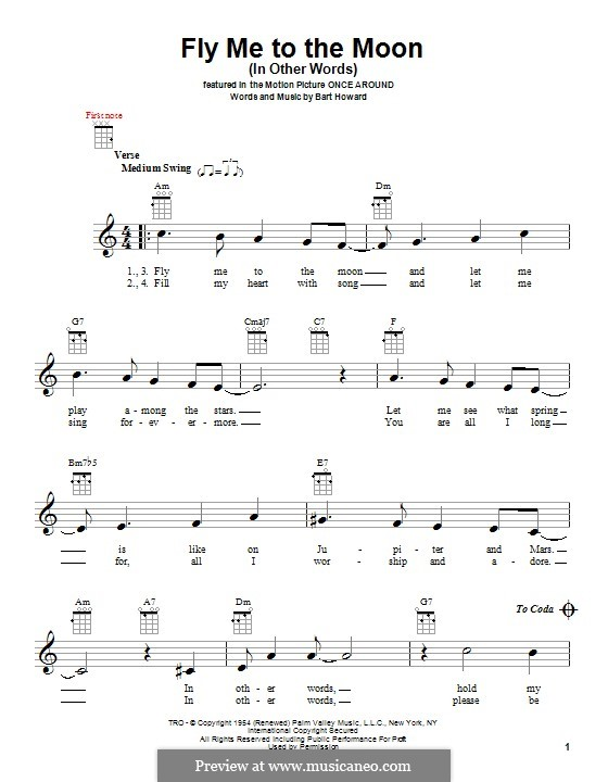 Fly Me to the Moon (In Other Words): para ukulele by Bart Howard