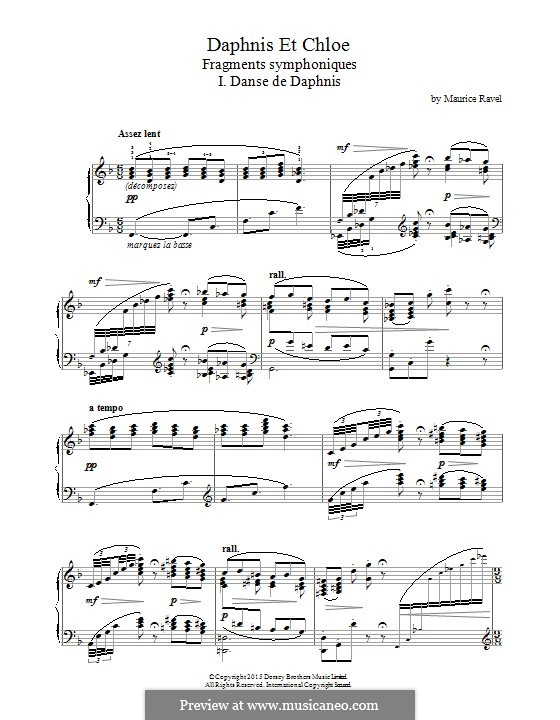 Daphnis et Chloé, M.57: I. Danse de Daphnis (fragment), for piano by Maurice Ravel