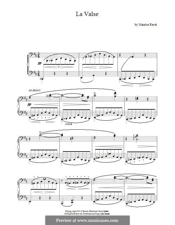 La valse. Choreographic Poem for Orchestra, M.72: versão para piano by Maurice Ravel
