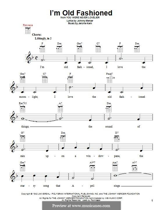 I'm Old Fashioned: para ukulele by Jerome Kern
