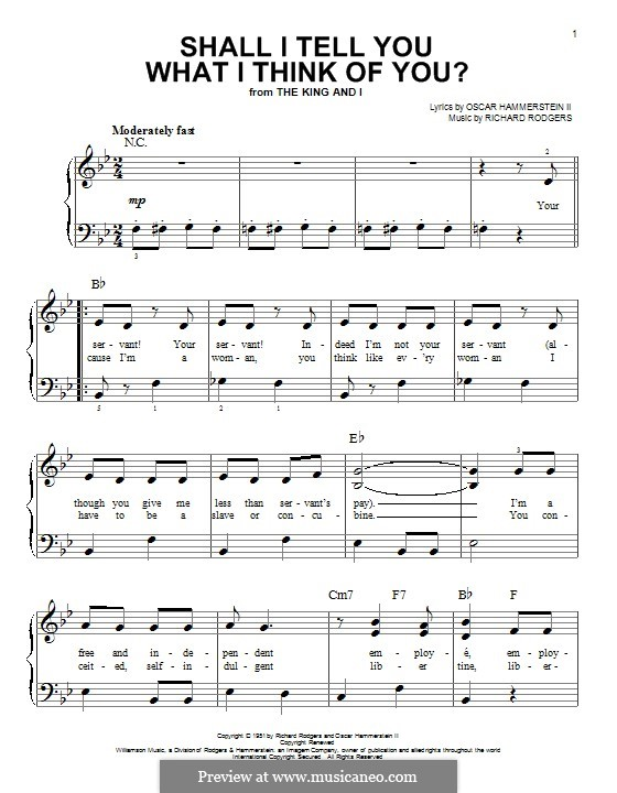 Shall I Tell You What I Think of You?: Para Piano by Richard Rodgers